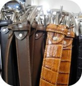 Florence Shopping - Belts and Gloves - close up of leather belts at Gioia Chiara shop