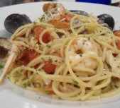 Spaghetti with seafood in Florence