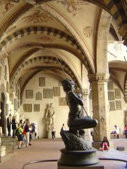 the Bargello Museum and its arched porticos