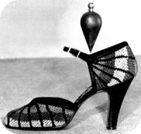 Florence Museums - the Ferragamo Museum - shoe with pendulum demonstrating weight falls on arch
