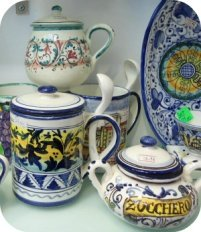 Florence and Deruta Ceramics - assorted pieces at Le Mie Ceramiche