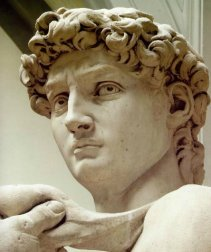 Close up of the original Statue of David at the Accademia Gallery Florence Italy