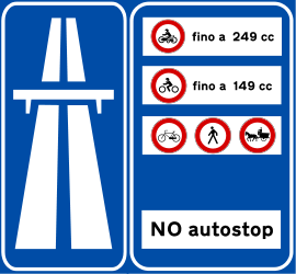 A blue sign for the Superstrada