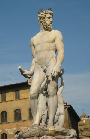 Il Biancone statue against a clear sky in summer in Piazza Signoria