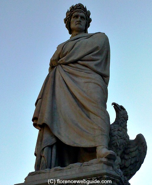 Statue of Dante, sculpted by Enrico Pazzi 1865, located on the left of the facade of Santa Croce