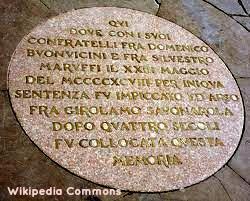 Plaque commemorating Savonarola in Piazza Signoria