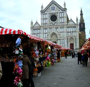 Christmas Market in piazza Santa Croce, Florence Italy