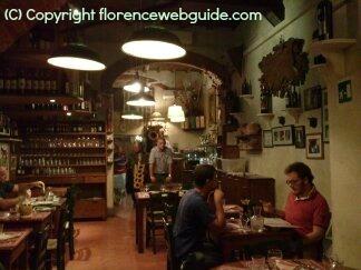 Interior of Trattoria dell'Orto a typical Florence trattoria