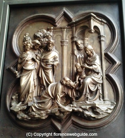 Scenes from life of Christ, adoration of the Magi by Ghiberti