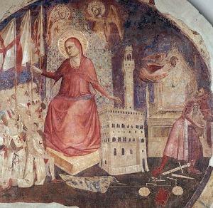 Fresco depicting the expulsion of the tyrant, the Duke of Athens