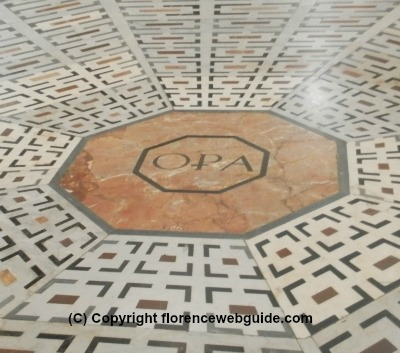 OPA - the organization in charge of the building and maintaining of the church - written in a marble tile in the floor of the basilica