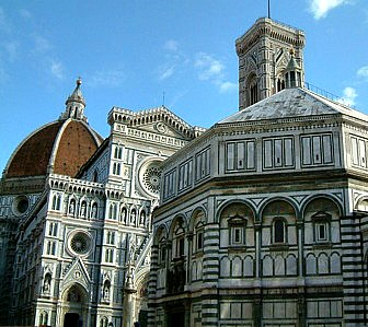 Most visitors on tours want to see Florence's Duomo and surrounding sites such as the bell tower and baptistery in this photo.