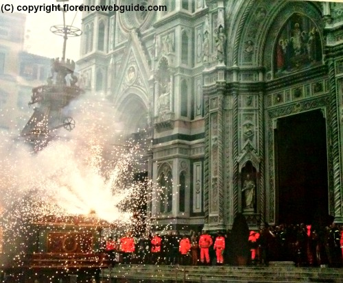 People and security gather outside the Duomo to see the pyrotechnic display