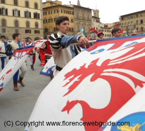 Flag thrower from the Florentine team I Bandierai degli Uffizi