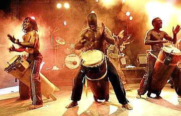 African musicians performing live at the festival