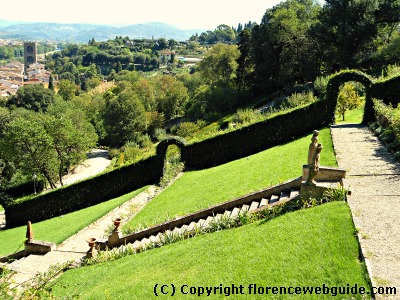 Bardini Garden slopes overlooking Arno in Florence