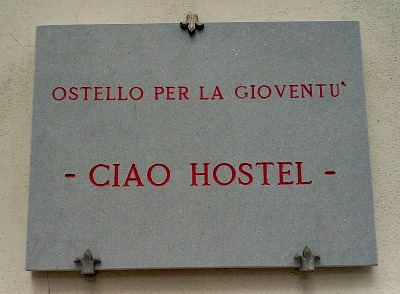 The 'Ciao Hostel' is on a busy street near the station in Florence