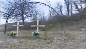 Crosses on the spot where Pia Rontini and Claudio Stefanacci died