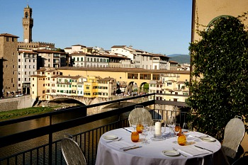 View of Ponte Vecchio from balcony of Hotel Lungarno