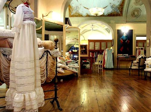Exquisite interior of the historical Loretta Caponi workshop and boutique