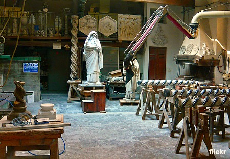 The workshop where the Duomo workers carry out maintenance on the art works of the cathedral