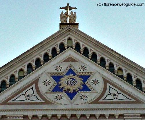 Star of David at the top of Santa Croce facade in Florence