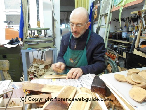 Giuseppe in his 'Bussetto' leather shop