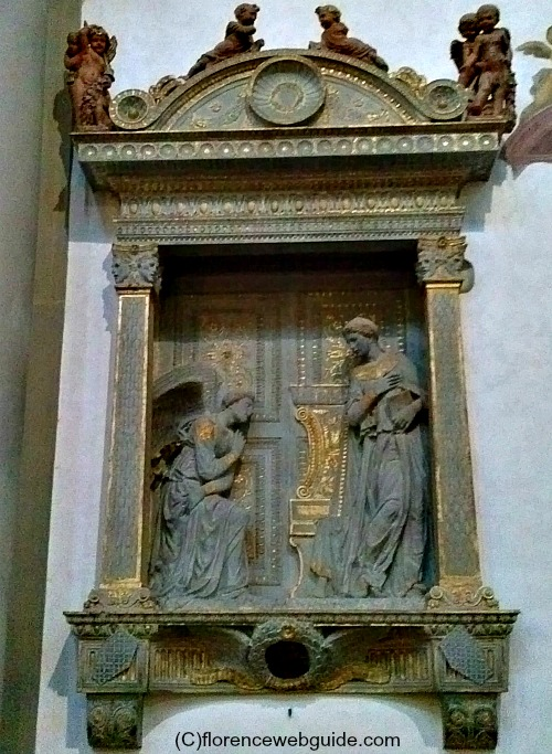 This tabernacle contains a bas-relief of the Annunciation by Donatello