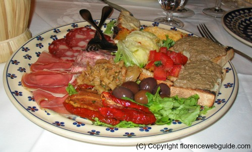 Appetizer platter with lots of goodies at Trattoria del Orto