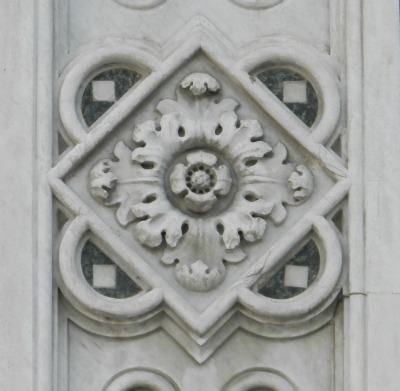 Marble quatrefoil decoration from facade of Duomo