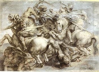 a reproduction of Leonardo's Battle of Anghiari done by Rubens - photo Wikipedia