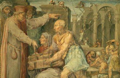 Cosimo the Elder is shown a model for San Lorenzo church by Brunelleschi