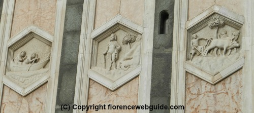 The first 'storey' of the Florence bell tower decoration, six-sided marble tiles with reliefs