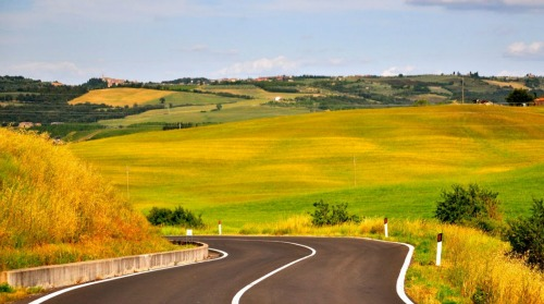 Road in Tuscan countryside