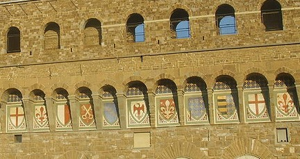 Series of 9 coats of arms running across Palazzo Vecchio Florence