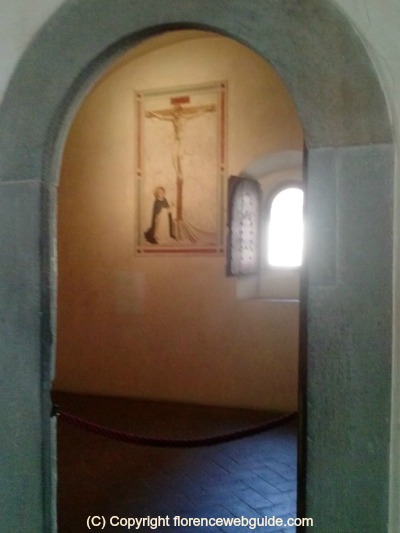 Monk's cell, window and fresco at San Marco Monastery