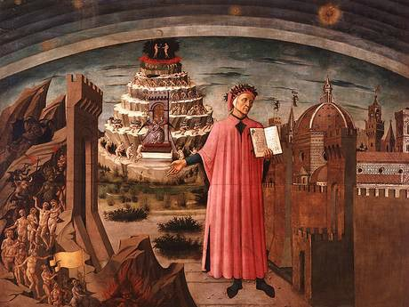 Mural celebrating Dante and his 'Inferno' in the church