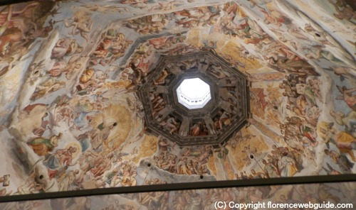 The dome frescoes taken from the gallery
