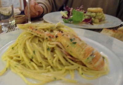 spaghetti carbonara with scampi at Enotria