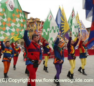 Flag throwers during presentation ceremony Florence Piazza Signoria
