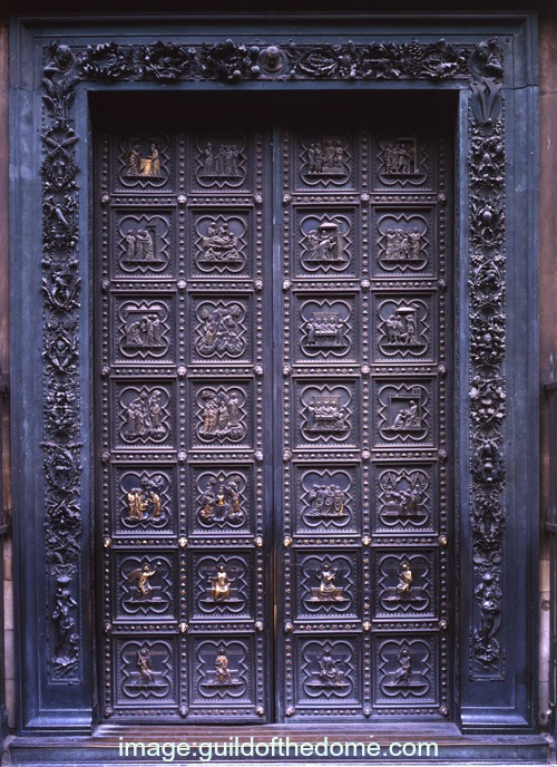 The baptistery's first set of bronze doors by Andrea Pisano