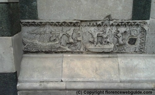 Roman sarcophagus in the Florence baptistry wall
