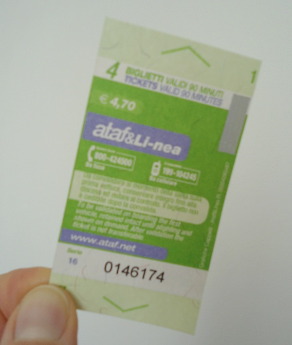 a multiple ticket for a city bus