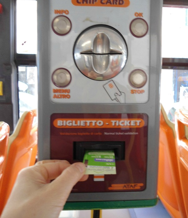 Get on the bus and stamp your ticket in this part of the machine