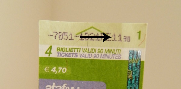 look at the arrow - it points to the time stamped on the ticket