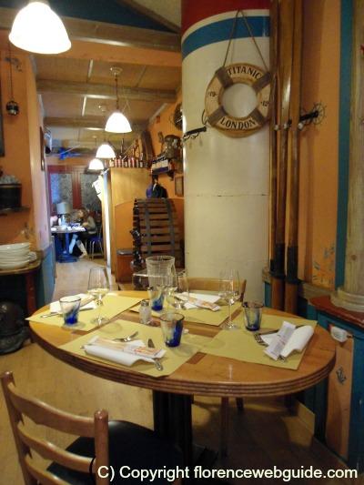 Titanic life preserver at tableside