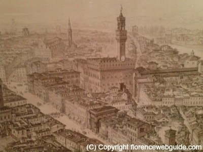 This drawing of Florence was a potential urban layout that was never carried out