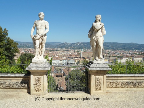 The terrace of the Bardini garden overlooks Florence