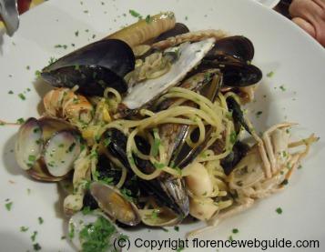 Spaghetti and seafood full of fish!