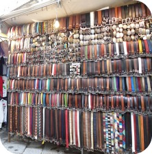 Florence Shopping - Belts and Gloves - stall at San Lorenzo market